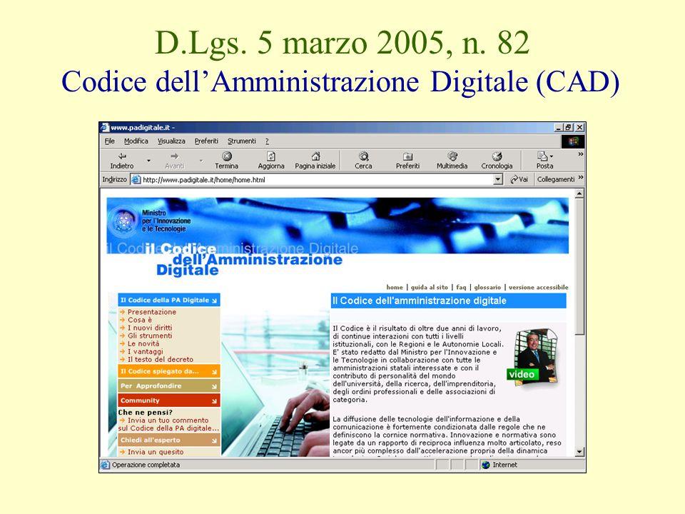 D.Lgs. 5 marzo 2005, n. 82 Codice dellAmministrazione Digitale (CAD)