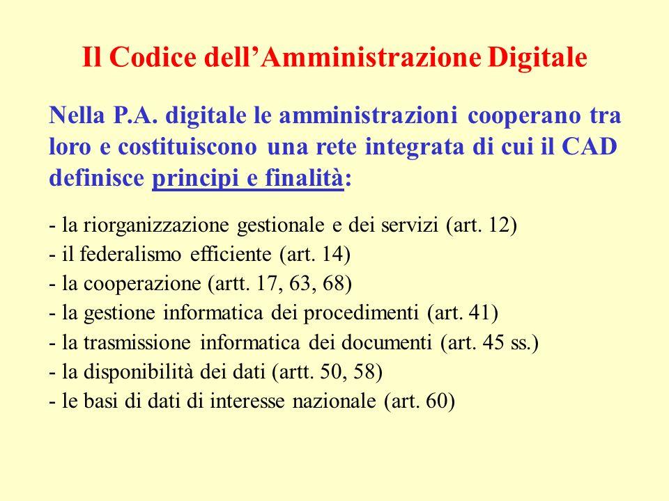 Il Codice dellAmministrazione Digitale Nella P.A. digitale le amministrazioni cooperano tra loro e costituiscono una rete integrata di cui il CAD defi