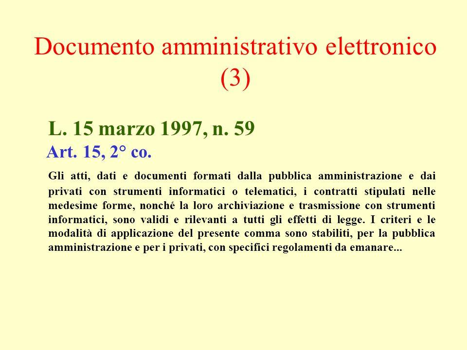L. 15 marzo 1997, n. 59 Art. 15, 2° co. Gli atti, dati e documenti formati dalla pubblica amministrazione e dai privati con strumenti informatici o te