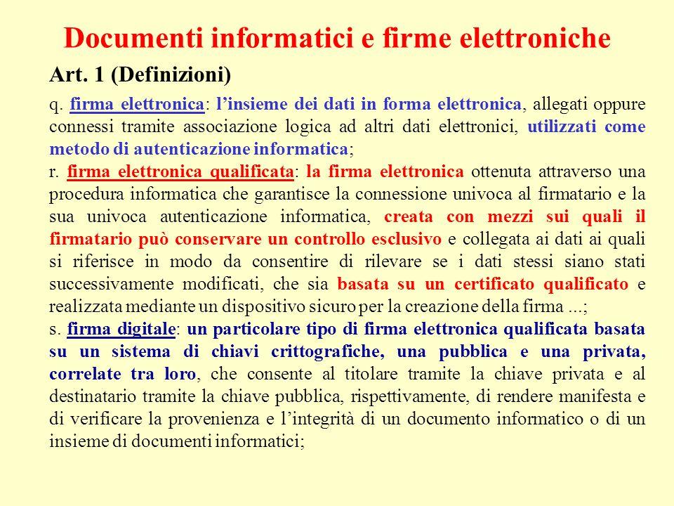 Documenti informatici e firme elettroniche Art. 1 (Definizioni) q. firma elettronica: linsieme dei dati in forma elettronica, allegati oppure connessi