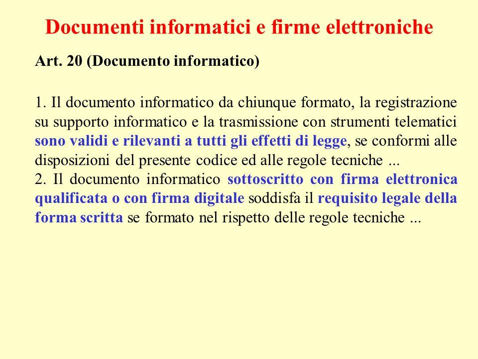 Documenti informatici e firme elettroniche Art. 20 (Documento informatico) 1. Il documento informatico da chiunque formato, la registrazione su suppor