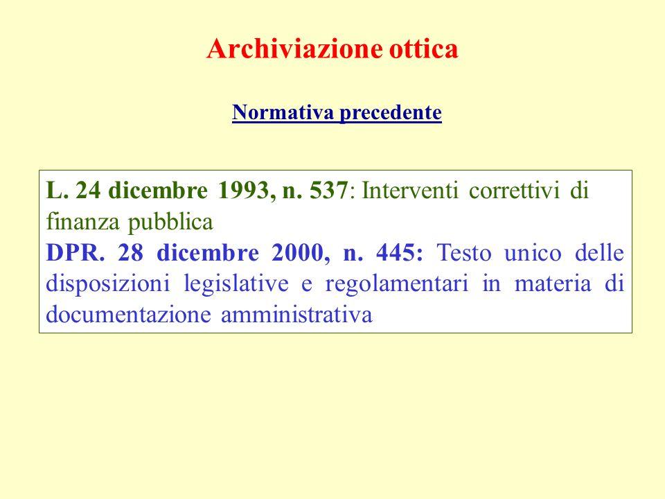 Archiviazione ottica Normativa precedente L. 24 dicembre 1993, n. 537: Interventi correttivi di finanza pubblica DPR. 28 dicembre 2000, n. 445: Testo