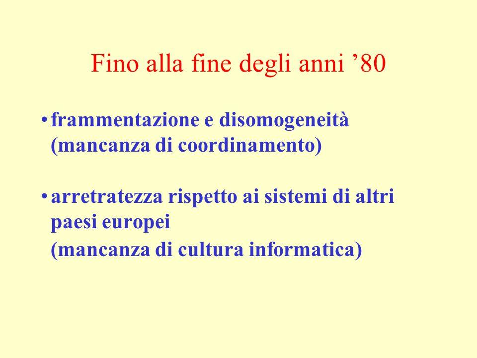 Fino alla fine degli anni 80 frammentazione e disomogeneità (mancanza di coordinamento) arretratezza rispetto ai sistemi di altri paesi europei (manca