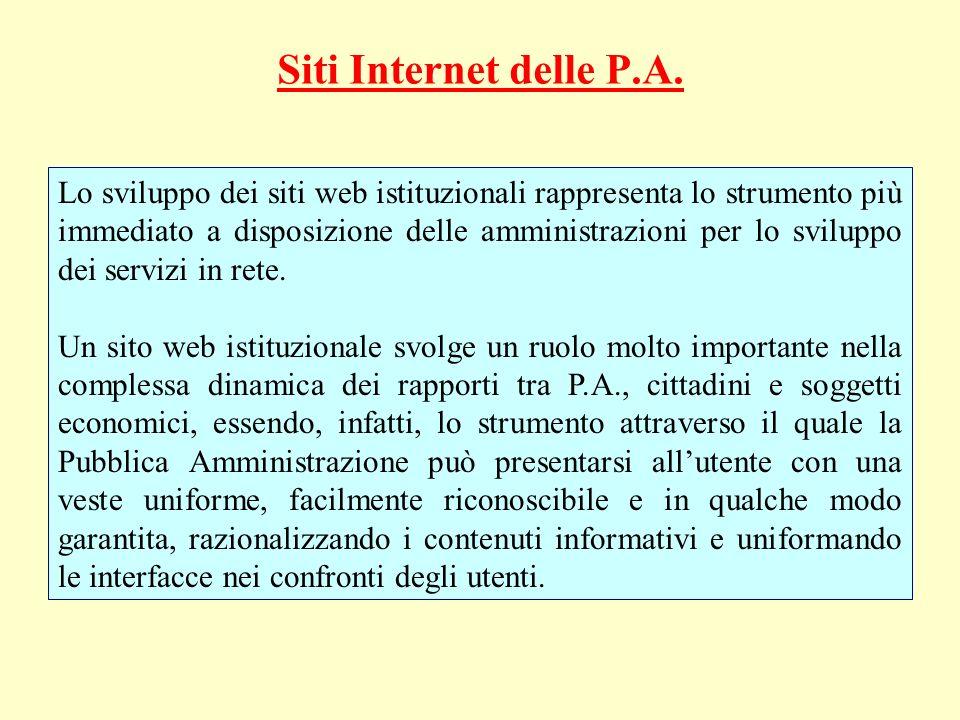 Siti Internet delle P.A. Lo sviluppo dei siti web istituzionali rappresenta lo strumento più immediato a disposizione delle amministrazioni per lo svi