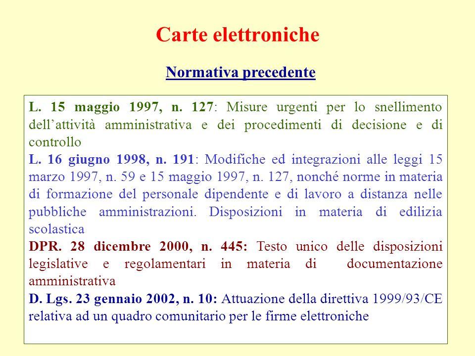 Carte elettroniche Normativa precedente L. 15 maggio 1997, n. 127: Misure urgenti per lo snellimento dellattività amministrativa e dei procedimenti di