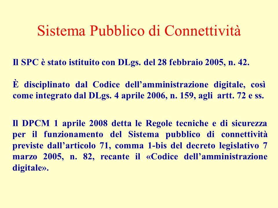 Il DPCM 1 aprile 2008 detta le Regole tecniche e di sicurezza per il funzionamento del Sistema pubblico di connettività previste dallarticolo 71, comm