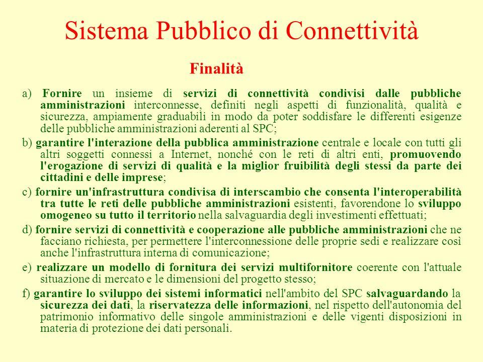 a) Fornire un insieme di servizi di connettività condivisi dalle pubbliche amministrazioni interconnesse, definiti negli aspetti di funzionalità, qual