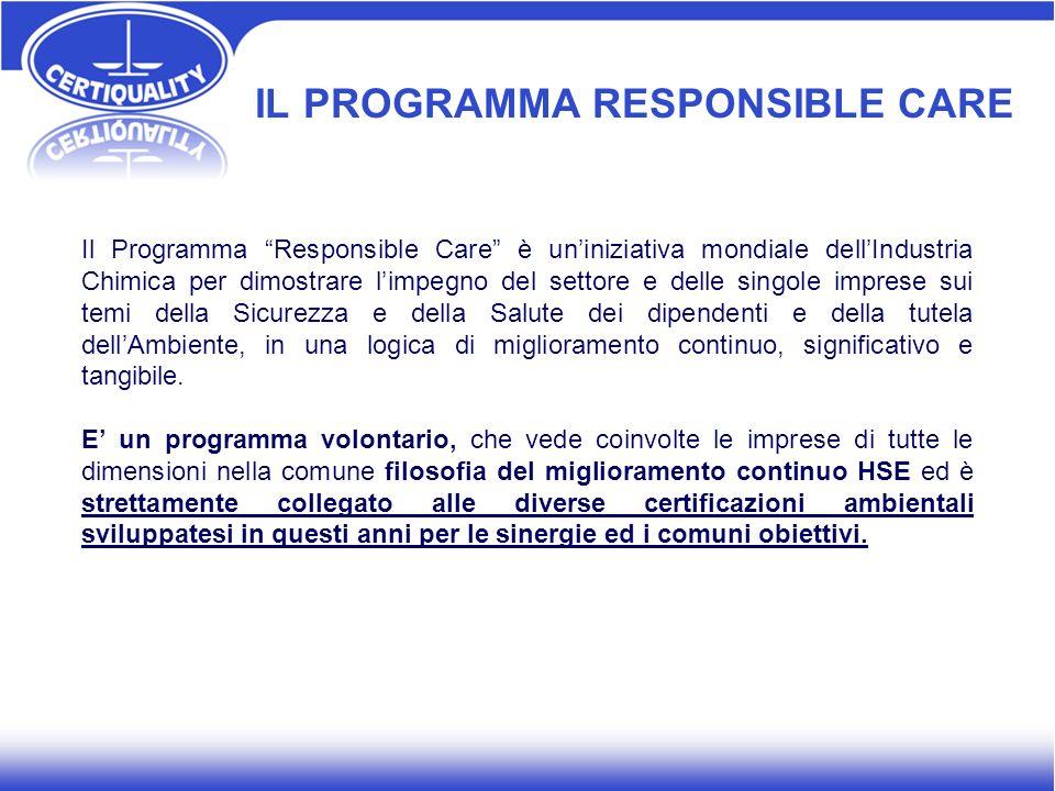 IL PROGRAMMA RESPONSIBLE CARE Il Programma Responsible Care è uniniziativa mondiale dellIndustria Chimica per dimostrare limpegno del settore e delle