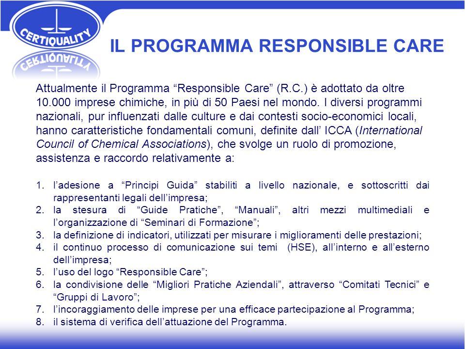 IL PROGRAMMA RESPONSIBLE CARE Attualmente il Programma Responsible Care (R.C.) è adottato da oltre 10.000 imprese chimiche, in più di 50 Paesi nel mon