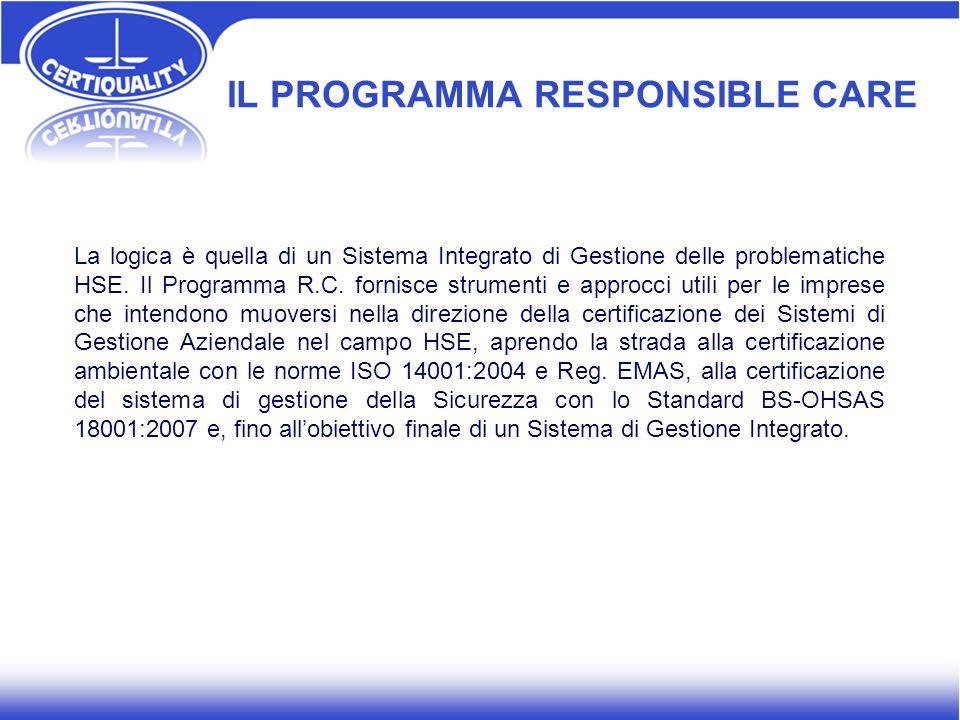 IL PROGRAMMA RESPONSIBLE CARE La logica è quella di un Sistema Integrato di Gestione delle problematiche HSE. Il Programma R.C. fornisce strumenti e a