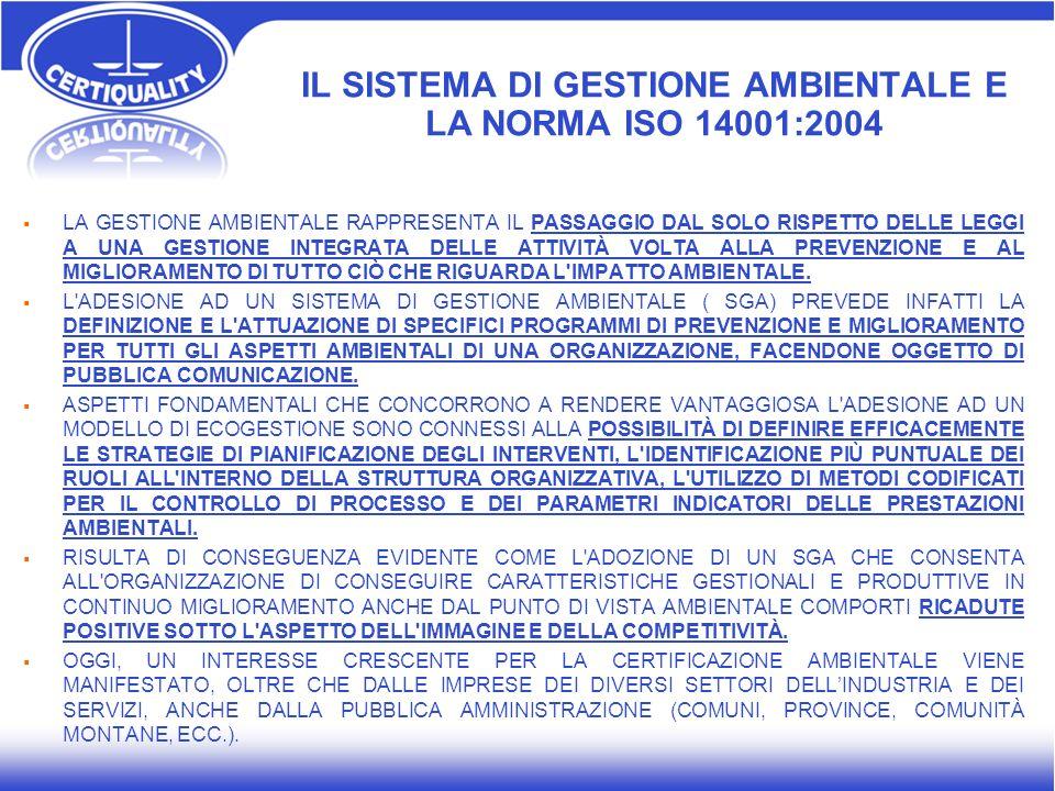 IL SISTEMA DI GESTIONE AMBIENTALE E LA NORMA ISO 14001:2004 LA GESTIONE AMBIENTALE RAPPRESENTA IL PASSAGGIO DAL SOLO RISPETTO DELLE LEGGI A UNA GESTIO