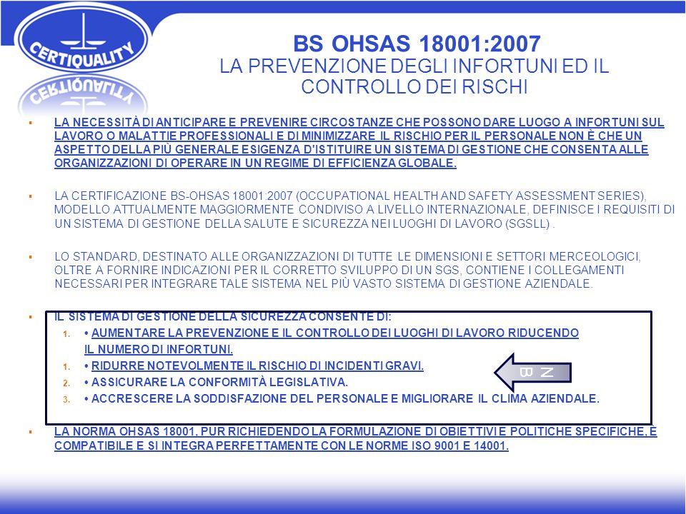 BS OHSAS 18001:2007 LA PREVENZIONE DEGLI INFORTUNI ED IL CONTROLLO DEI RISCHI LA NECESSITÀ DI ANTICIPARE E PREVENIRE CIRCOSTANZE CHE POSSONO DARE LUOG
