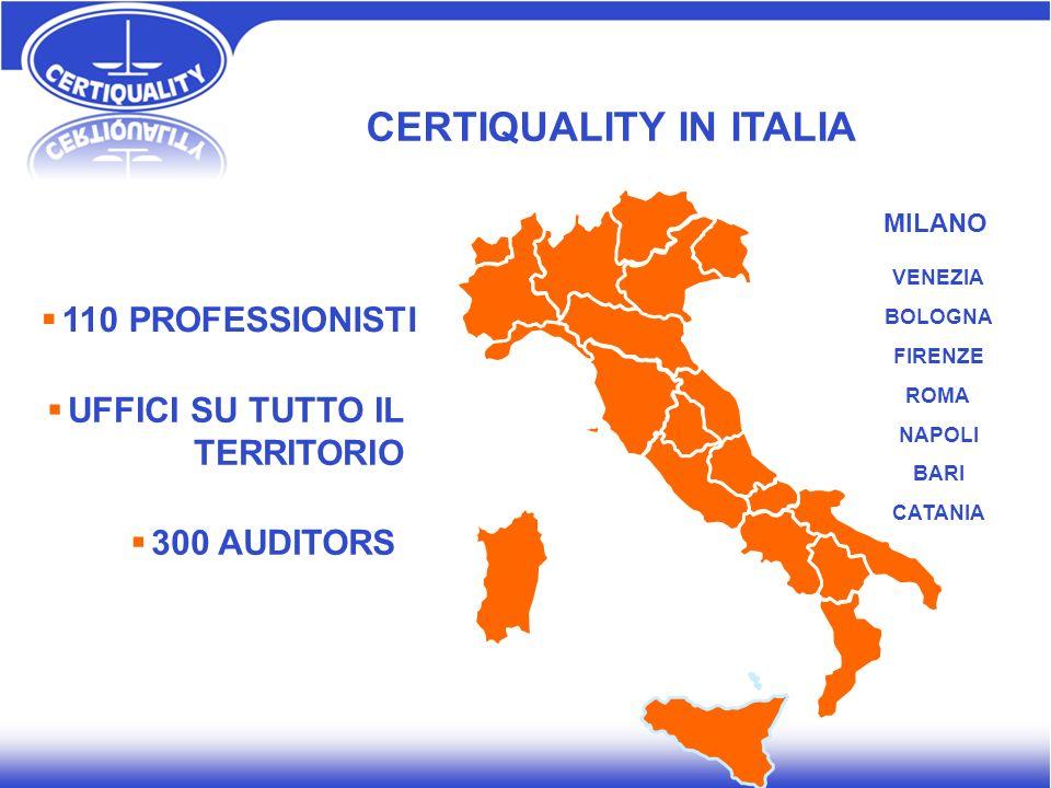 110 PROFESSIONISTI CERTIQUALITY IN ITALIA MILANO VENEZIA BOLOGNA FIRENZE ROMA NAPOLI BARI CATANIA UFFICI SU TUTTO IL TERRITORIO 300 AUDITORS
