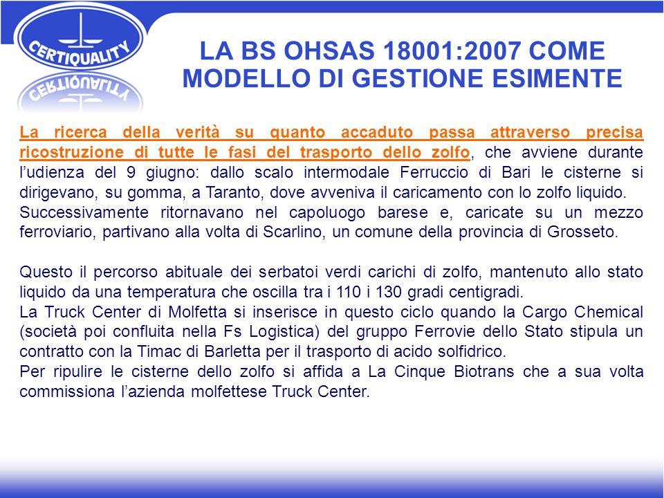 LA BS OHSAS 18001:2007 COME MODELLO DI GESTIONE ESIMENTE La ricerca della verità su quanto accaduto passa attraverso precisa ricostruzione di tutte le
