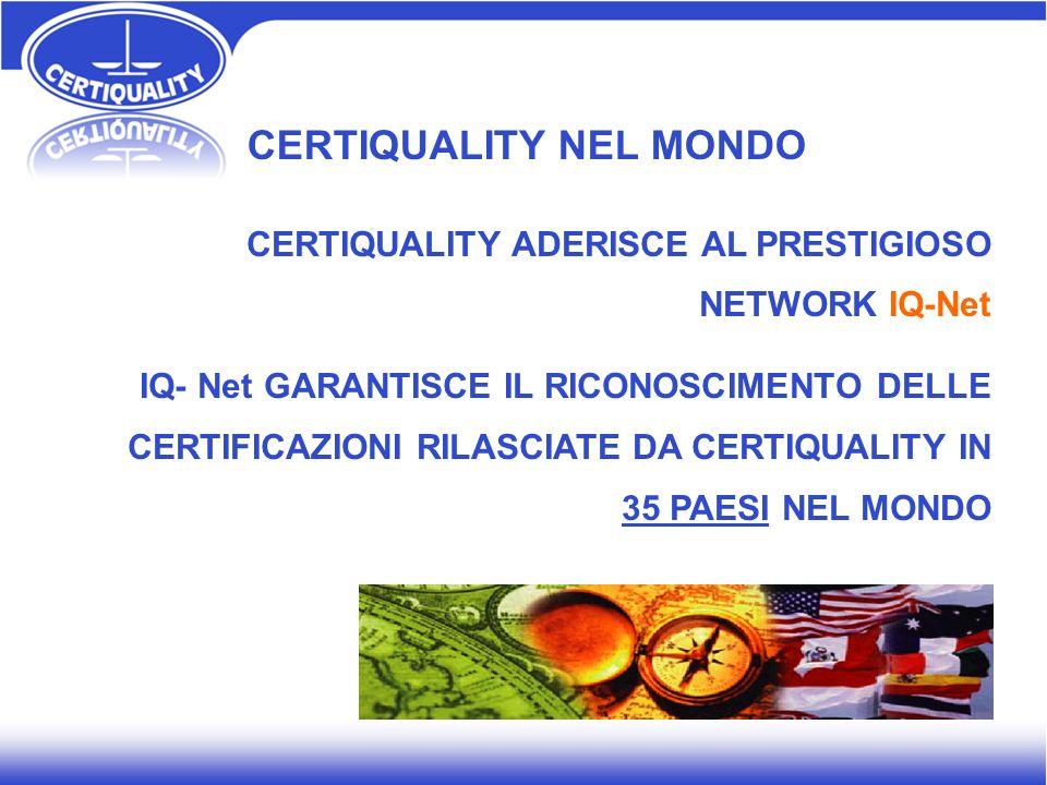 CERTIQUALITY NEL MONDO CERTIQUALITY ADERISCE AL PRESTIGIOSO NETWORK IQ-Net IQ- Net GARANTISCE IL RICONOSCIMENTO DELLE CERTIFICAZIONI RILASCIATE DA CER