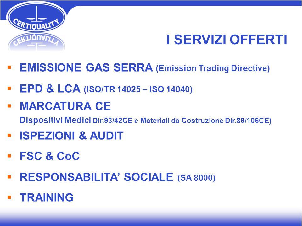 EMISSIONE GAS SERRA (Emission Trading Directive) EPD & LCA (ISO/TR 14025 – ISO 14040) MARCATURA CE Dispositivi Medici Dir.93/42 CE e Materiali da Cost