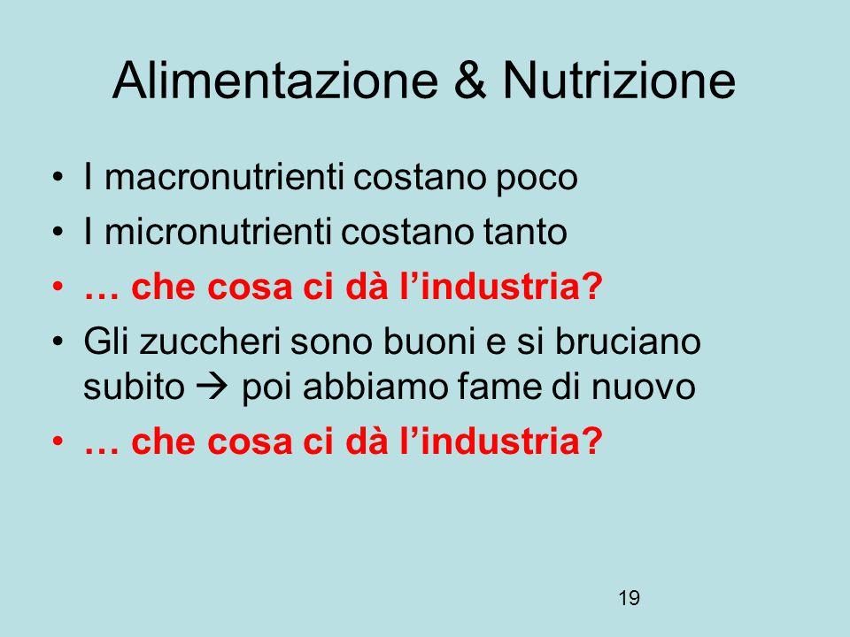19 Alimentazione & Nutrizione I macronutrienti costano poco I micronutrienti costano tanto … che cosa ci dà lindustria? Gli zuccheri sono buoni e si b