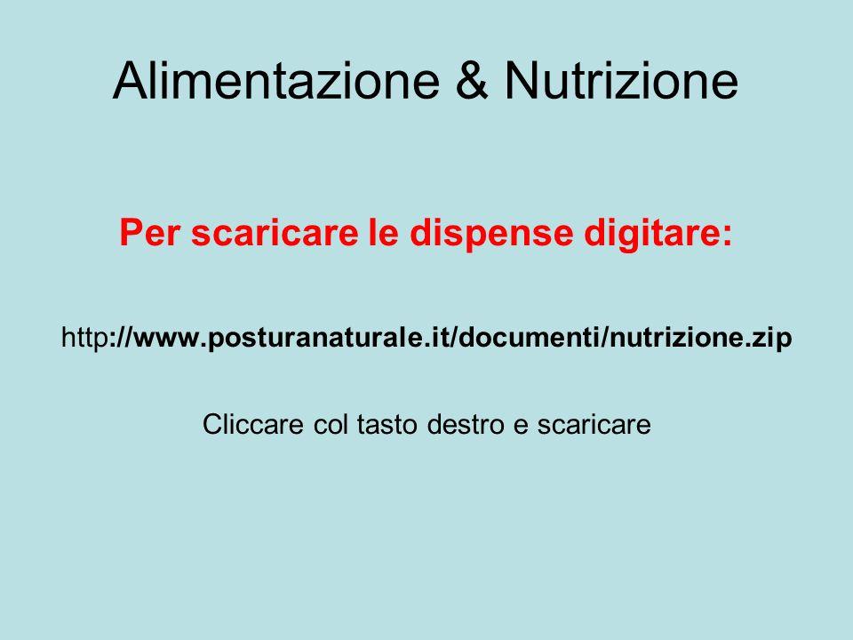 Alimentazione & Nutrizione Per scaricare le dispense digitare: http://www.posturanaturale.it/documenti/nutrizione.zip Cliccare col tasto destro e scar