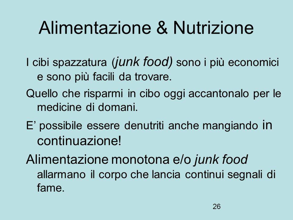 26 Alimentazione & Nutrizione I cibi spazzatura ( junk food) sono i più economici e sono più facili da trovare. Quello che risparmi in cibo oggi accan
