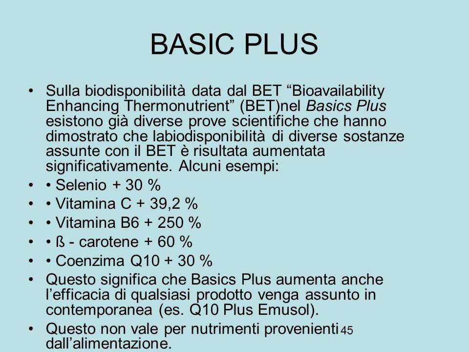 45 BASIC PLUS Sulla biodisponibilità data dal BET Bioavailability Enhancing Thermonutrient (BET)nel Basics Plus esistono già diverse prove scientifich