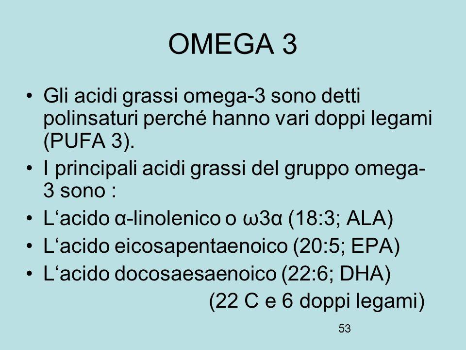 53 OMEGA 3 Gli acidi grassi omega-3 sono detti polinsaturi perché hanno vari doppi legami (PUFA 3). I principali acidi grassi del gruppo omega- 3 sono