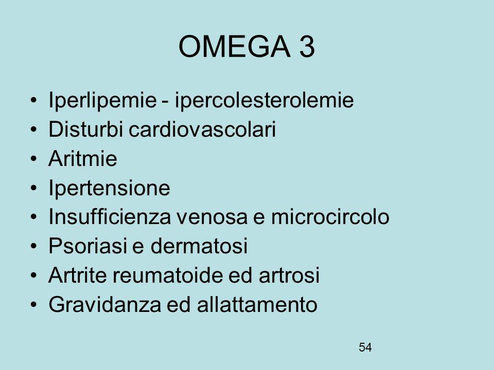 54 OMEGA 3 Iperlipemie - ipercolesterolemie Disturbi cardiovascolari Aritmie Ipertensione Insufficienza venosa e microcircolo Psoriasi e dermatosi Art