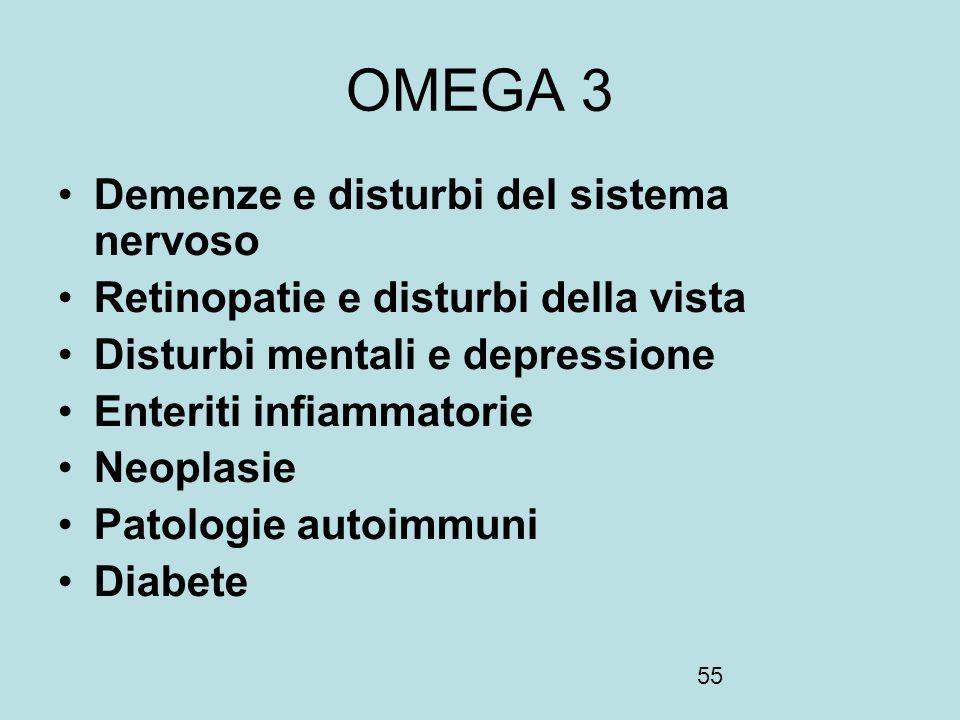 55 OMEGA 3 Demenze e disturbi del sistema nervoso Retinopatie e disturbi della vista Disturbi mentali e depressione Enteriti infiammatorie Neoplasie P