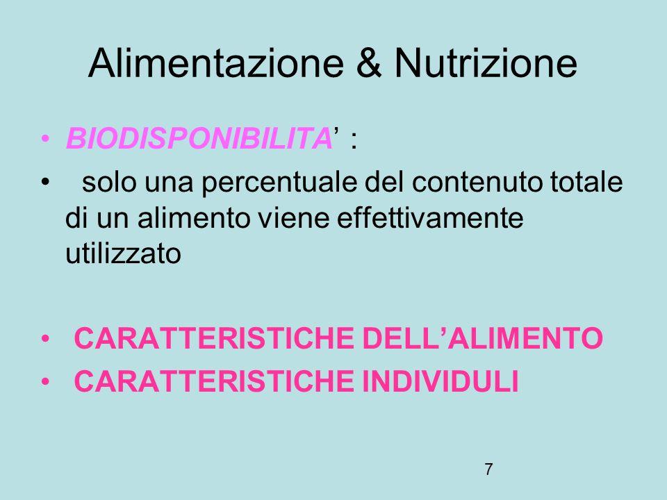 8 Alimentazione & Nutrizione Acidi grassi essenziali – Acido linolenico (omega 6) – Acido linoleico (omega 6) Aminoacidi essenziali –Fenilalanina –Isoleucina –Leucina –Lisina –Metionina –Treonina –Triptofano –Valina