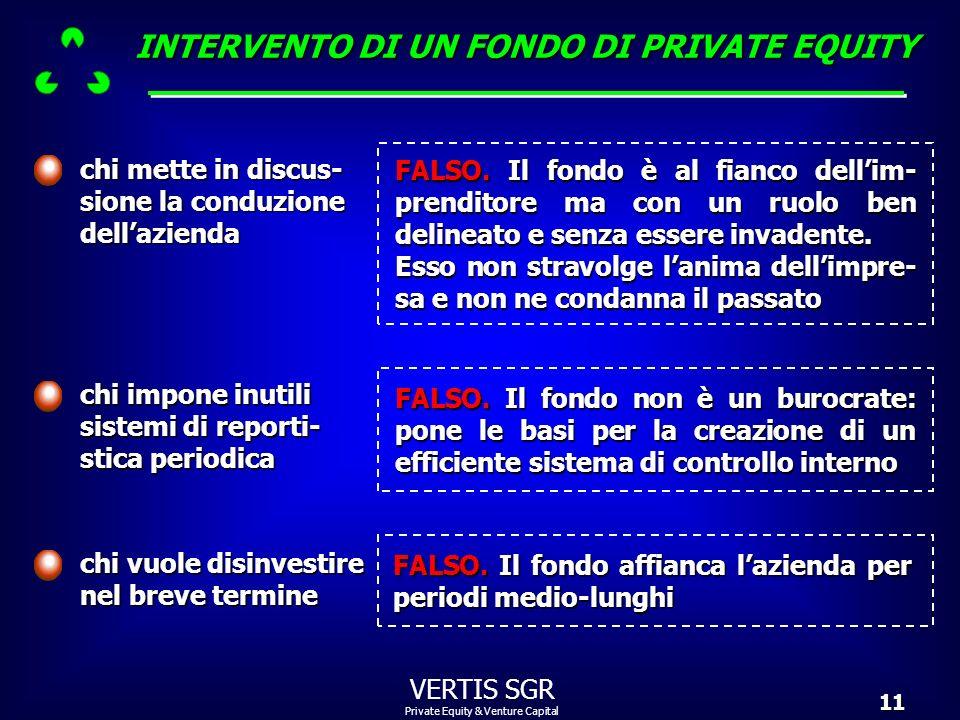 Private Equity & Venture Capital VERTIS SGR11 chi impone inutili sistemi di reporti- stica periodica FALSO. Il fondonon è un burocrate: pone le basi p