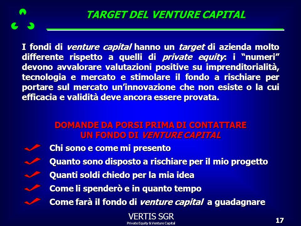 Private Equity & Venture Capital VERTIS SGR17 I fondi di venture capital hanno un target di azienda molto differente rispetto a quelli di private equi