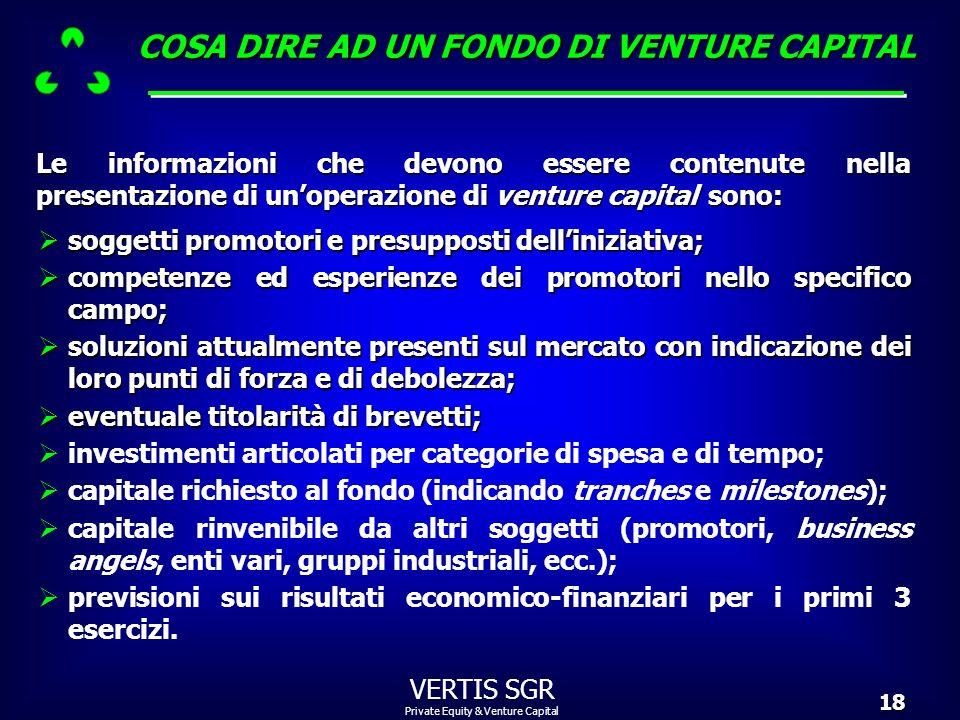 Private Equity & Venture Capital VERTIS SGR18 soggetti promotori e presupposti delliniziativa; soggetti promotori e presupposti delliniziativa; compet