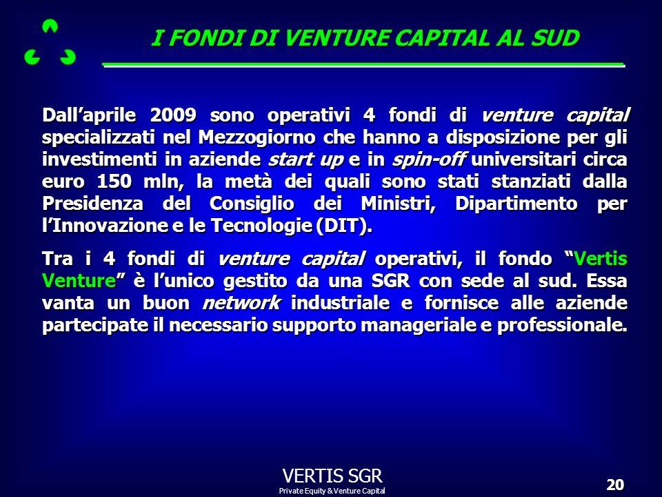 Private Equity & Venture Capital VERTIS SGR20 I FONDI DI VENTURE CAPITAL AL SUD Dallaprile 2009 sono operativi 4 fondi di venture capital specializzat