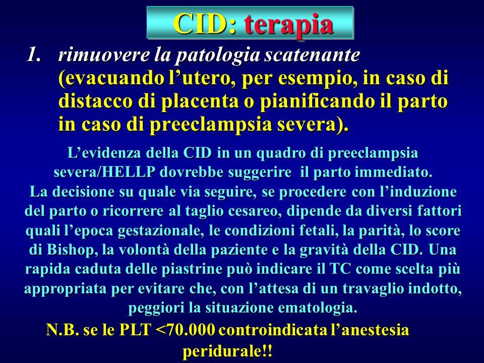 CID: terapia CID: terapia 1.rimuovere la patologia scatenante (evacuando lutero, per esempio, in caso di distacco di placenta o pianificando il parto