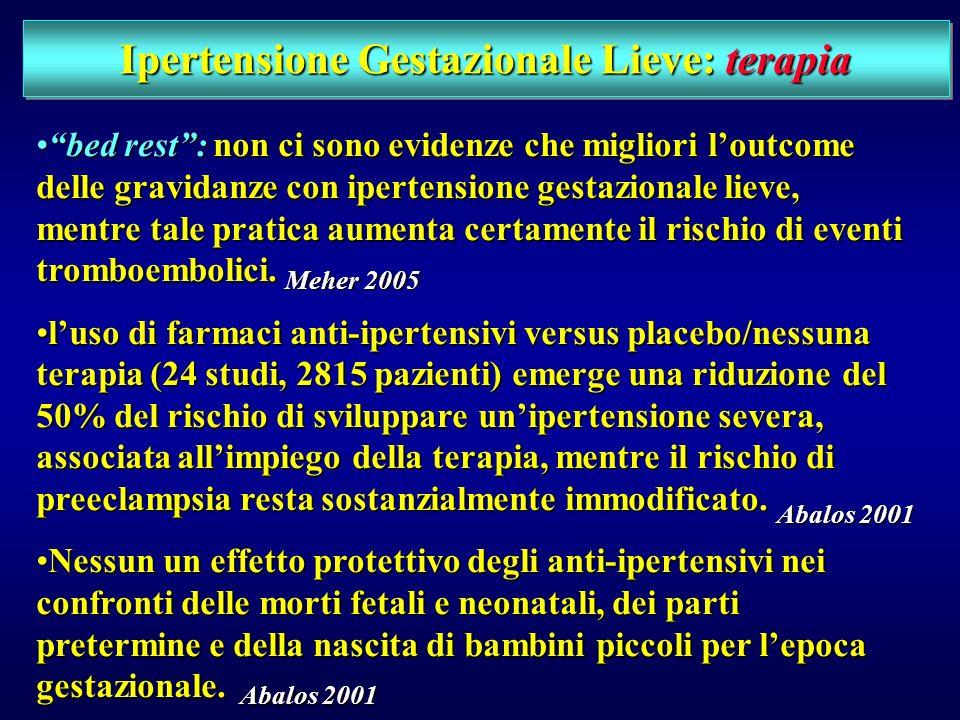Ipertensione Gestazionale Lieve: management CONTROVERSO!!!CONTROVERSO!!! non cè accordo riguardo ai possibili benefici derivanti dallospedalizzazione