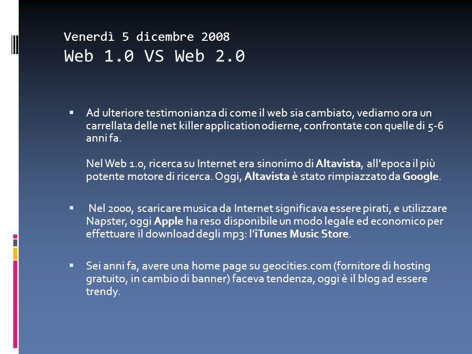 Venerdì 5 dicembre 2008 Web 1.0 VS Web 2.0 Ad ulteriore testimonianza di come il web sia cambiato, vediamo ora un carrellata delle net killer applicat