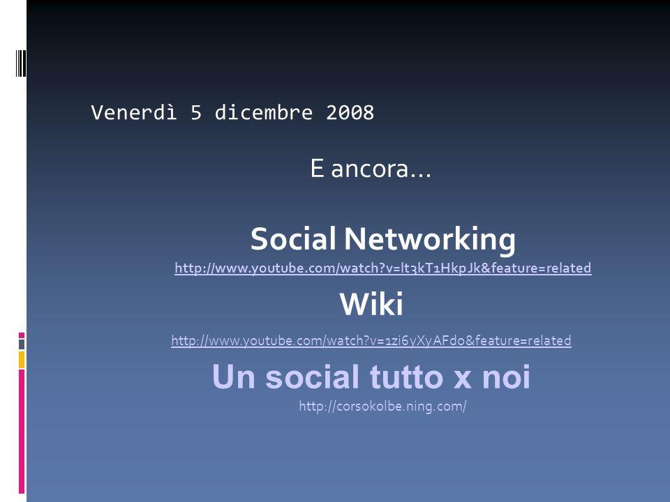 Venerdì 5 dicembre 2008 E ancora... Social Networking http://www.youtube.com/watch?v=lt3kT1HkpJk&feature=related http://www.youtube.com/watch?v=lt3kT1