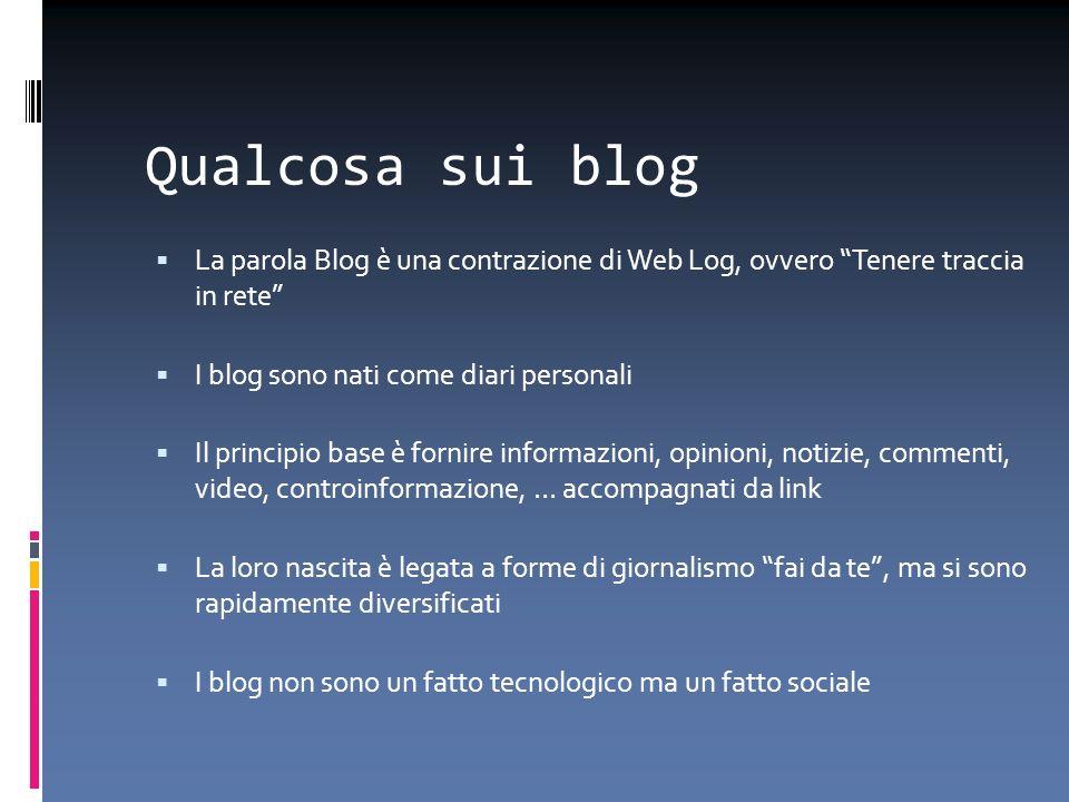 Qualcosa sui blog La parola Blog è una contrazione di Web Log, ovvero Tenere traccia in rete I blog sono nati come diari personali Il principio base è