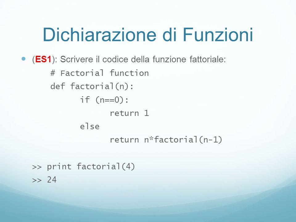 Dichiarazione di Funzioni (ES1): Scrivere il codice della funzione fattoriale: # Factorial function def factorial(n): if (n==0): return 1 else return