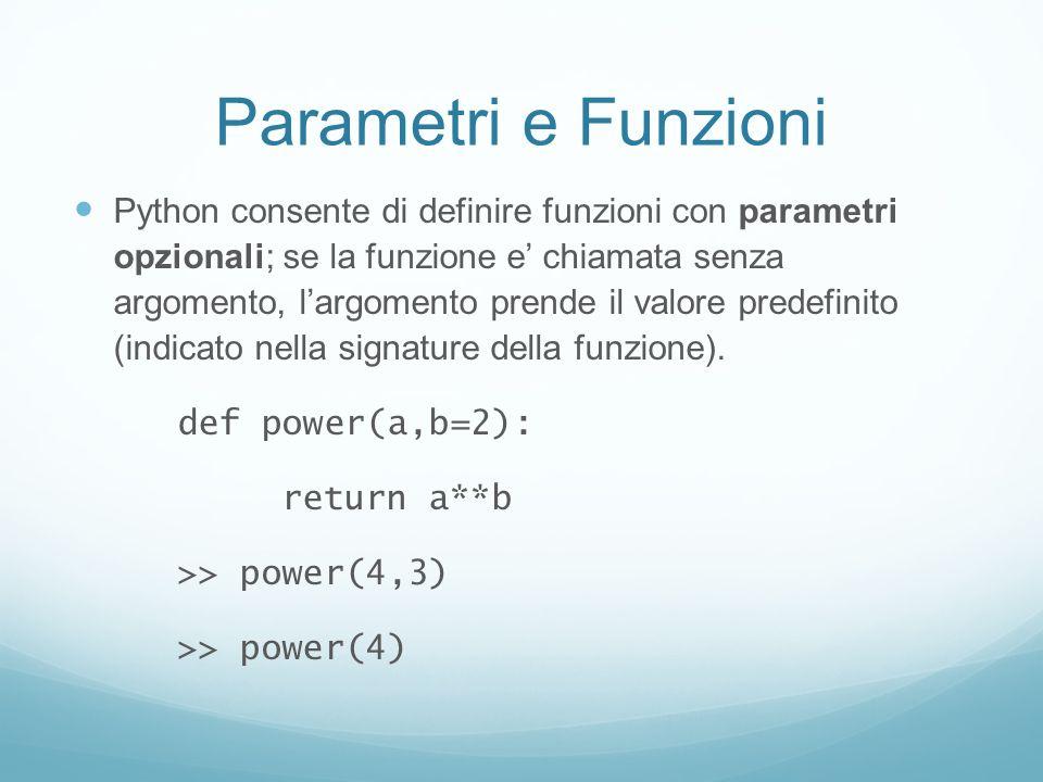 Parametri e Funzioni Python consente di definire funzioni con parametri opzionali; se la funzione e chiamata senza argomento, largomento prende il val