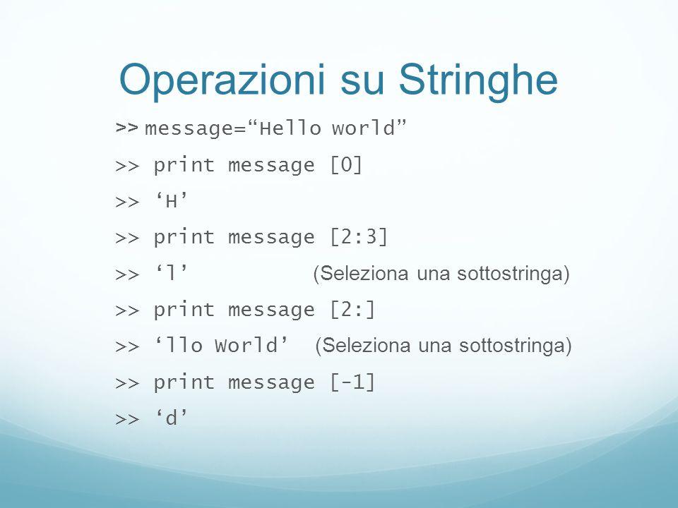 Operazioni su Stringhe >> message=Hello world >> print message [0] >> H >> print message [2:3] >> l (Seleziona una sottostringa) >> print message [2:]