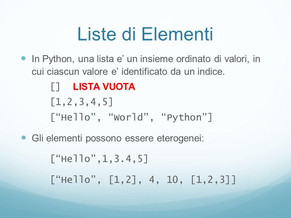 Liste di Elementi In Python, una lista e un insieme ordinato di valori, in cui ciascun valore e identificato da un indice. [] LISTA VUOTA [1,2,3,4,5]
