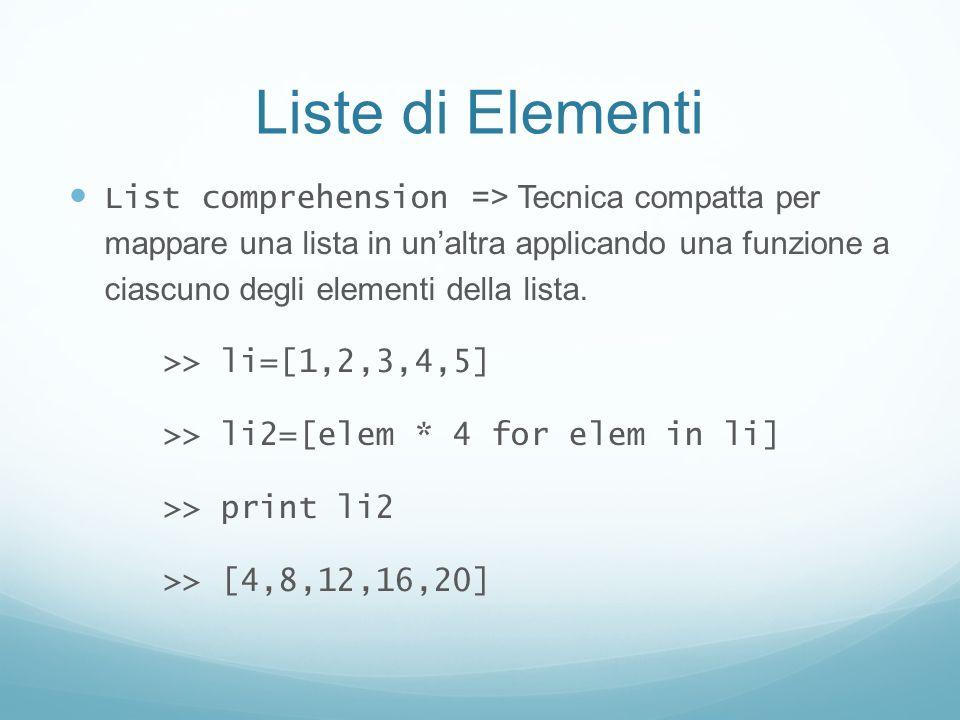 Liste di Elementi List comprehension => Tecnica compatta per mappare una lista in unaltra applicando una funzione a ciascuno degli elementi della list