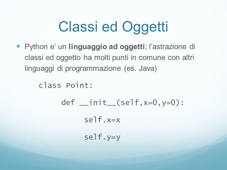 Classi ed Oggetti Python e un linguaggio ad oggetti; lastrazione di classi ed oggetto ha molti punti in comune con altri linguaggi di programmazione (