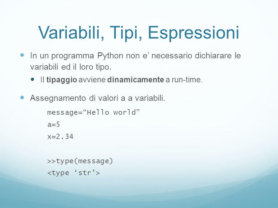 Variabili, Tipi, Espressioni In un programma Python non e necessario dichiarare le variabili ed il loro tipo. Il tipaggio avviene dinamicamente a run-