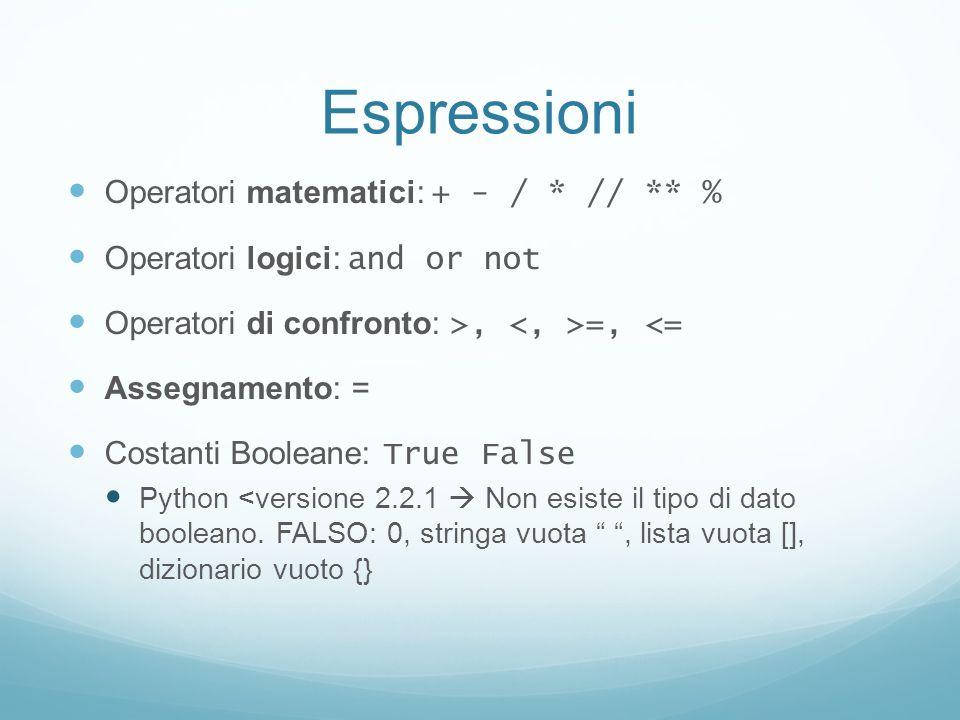 Espressioni Operatori matematici: + - / * // ** % Operatori logici: and or not Operatori di confronto: >, =, <= Assegnamento: = Costanti Booleane: Tru