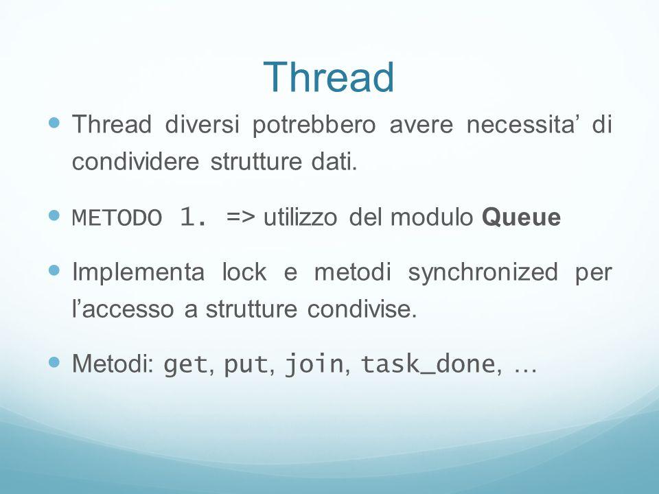 Thread Thread diversi potrebbero avere necessita di condividere strutture dati. METODO 1. => utilizzo del modulo Queue Implementa lock e metodi synchr