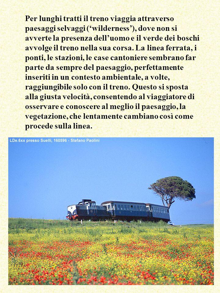 Per lunghi tratti il treno viaggia attraverso paesaggi selvaggi (wilderness), dove non si avverte la presenza delluomo e il verde dei boschi avvolge il treno nella sua corsa.