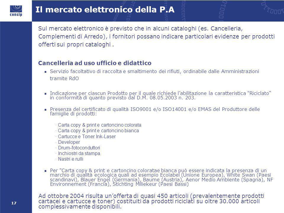 17 Il mercato elettronico della P.A Sul mercato elettronico è previsto che in alcuni cataloghi (es. Cancelleria, Complementi di Arredo), i fornitori p