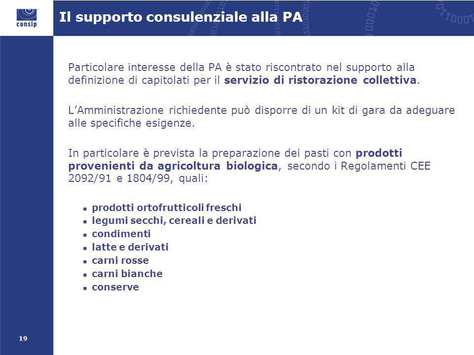 19 Il supporto consulenziale alla PA Particolare interesse della PA è stato riscontrato nel supporto alla definizione di capitolati per il servizio di ristorazione collettiva.