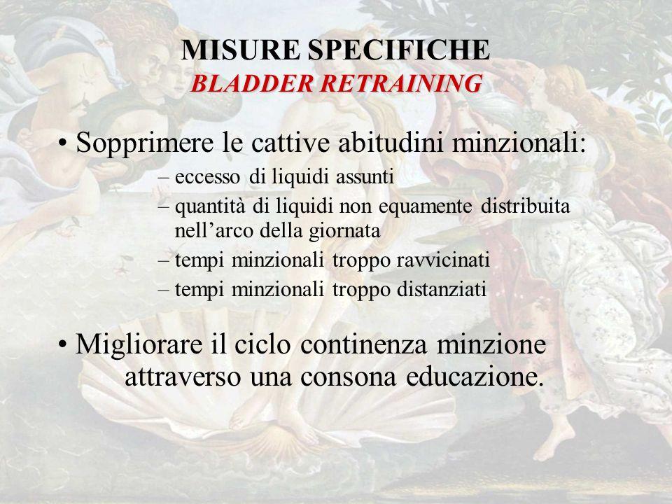 BLADDER RETRAINING MISURE SPECIFICHE BLADDER RETRAINING Sopprimere le cattive abitudini minzionali: –eccesso di liquidi assunti –quantità di liquidi n